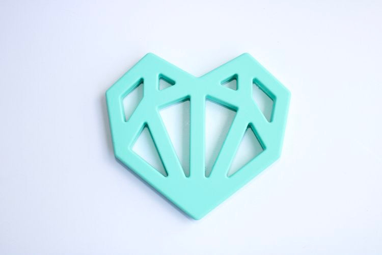baby boy heart shape teething ring mint teether minimalist baby toys and gifts