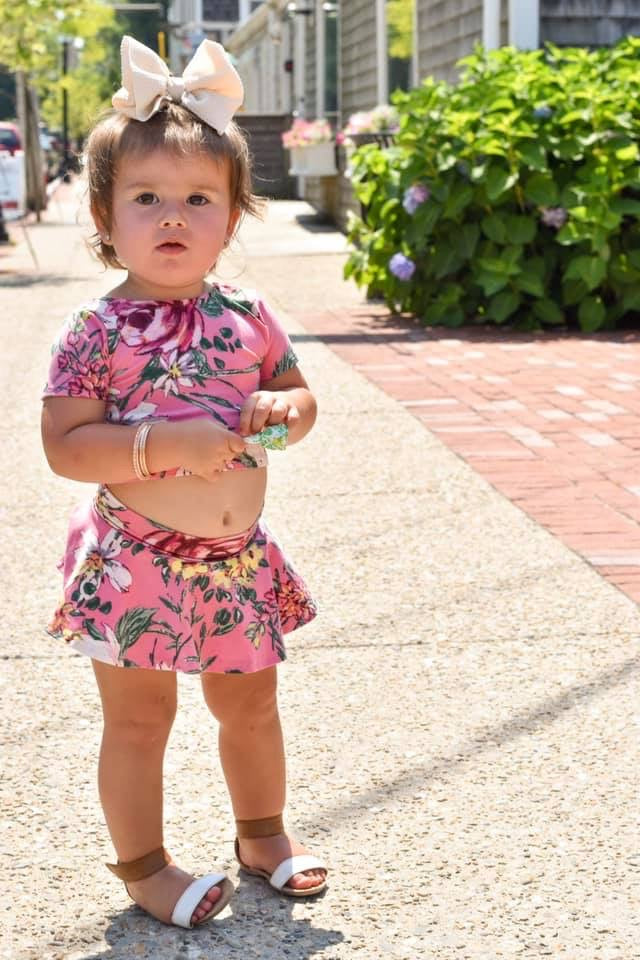 toddler model pink crop top two piece outfit