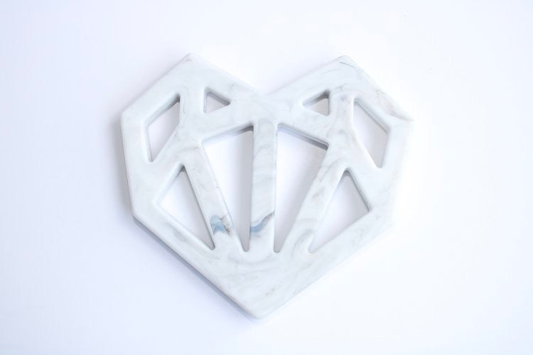 gender neutral heart shape teething ring marble teether minimalist baby toys and gifts