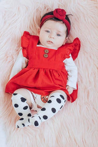 babies red pinafore unique ruffle sleeve toddler dresses
