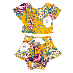 orange floral crop top bummy shorts set with skirt cute toddler outfits for sale