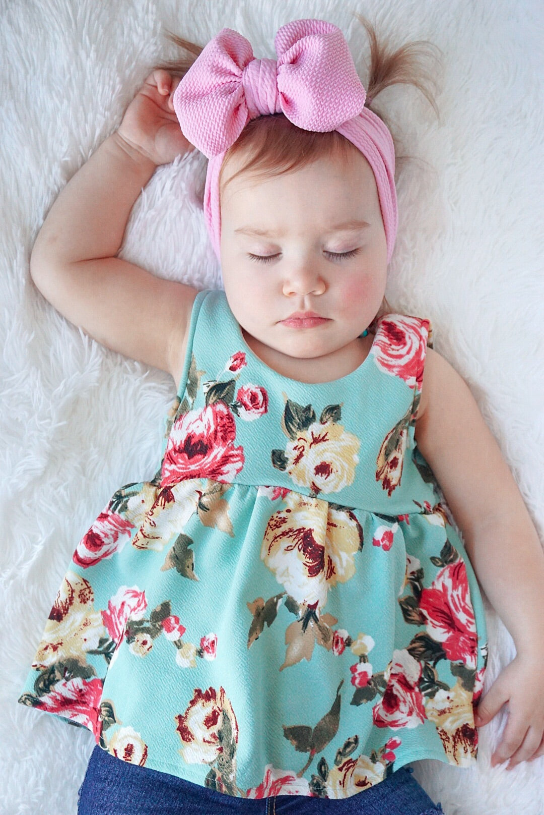 sweet baby girl pink bow mint green floral bohemian toddler top from little posh babes