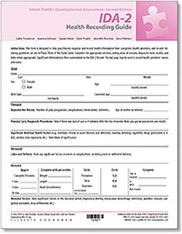 IDA-2 Health Recording Guide (25) - IDA IDA-2 Manual Form Kit for Infants and Toddlers