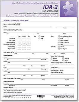 IDA-2 Record Forms – English (25) - IDA IDA-2 Manual Form Kit for Infants and Toddlers