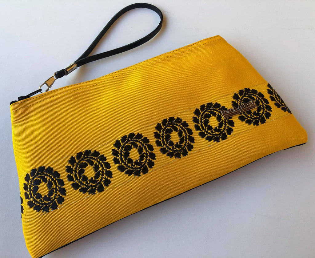 Yellow With Black Leaf Wrist Purse