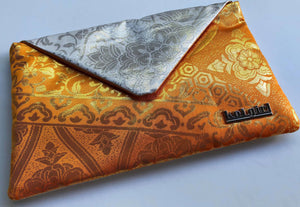 Orange and Silver Mandala Clutch