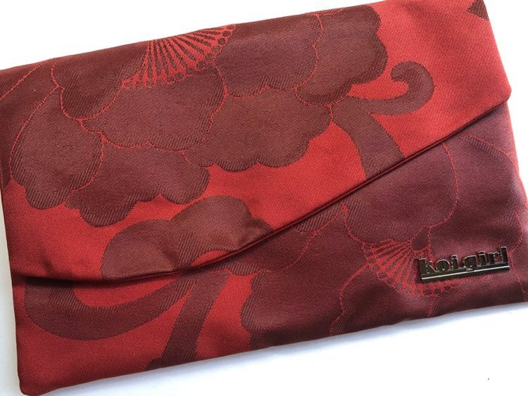 Red and Black Peony Clutch
