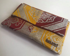 Red and Yellow with Silver Mandala Clutch
