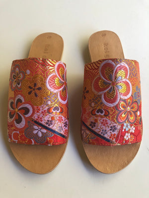 Red Floral Slides size 40