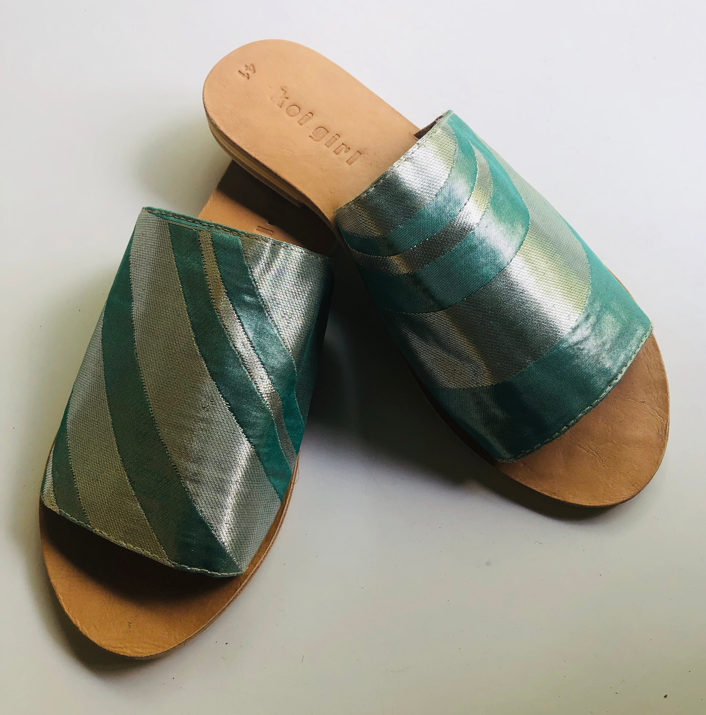 Turquoise and Silver Slides size 41