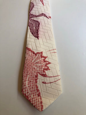 Ivory and Red Flying Cranes Neck Tie