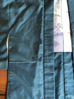 Blue Small Check Vintage Silk Haori Jacket