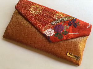 Orange and Gold Floral and Geometric Clutch