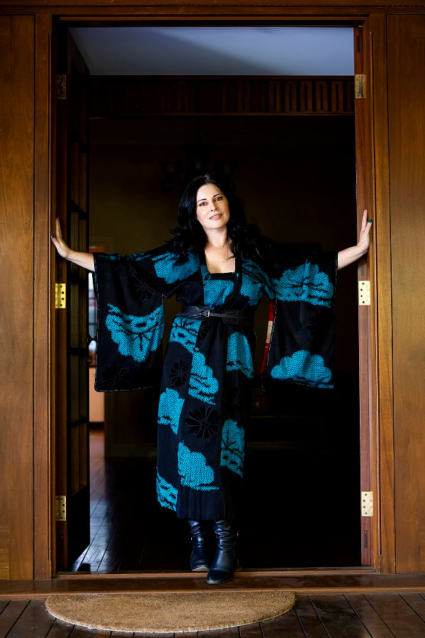 Black and Blue Shibori Vintage Michiyuki Coat