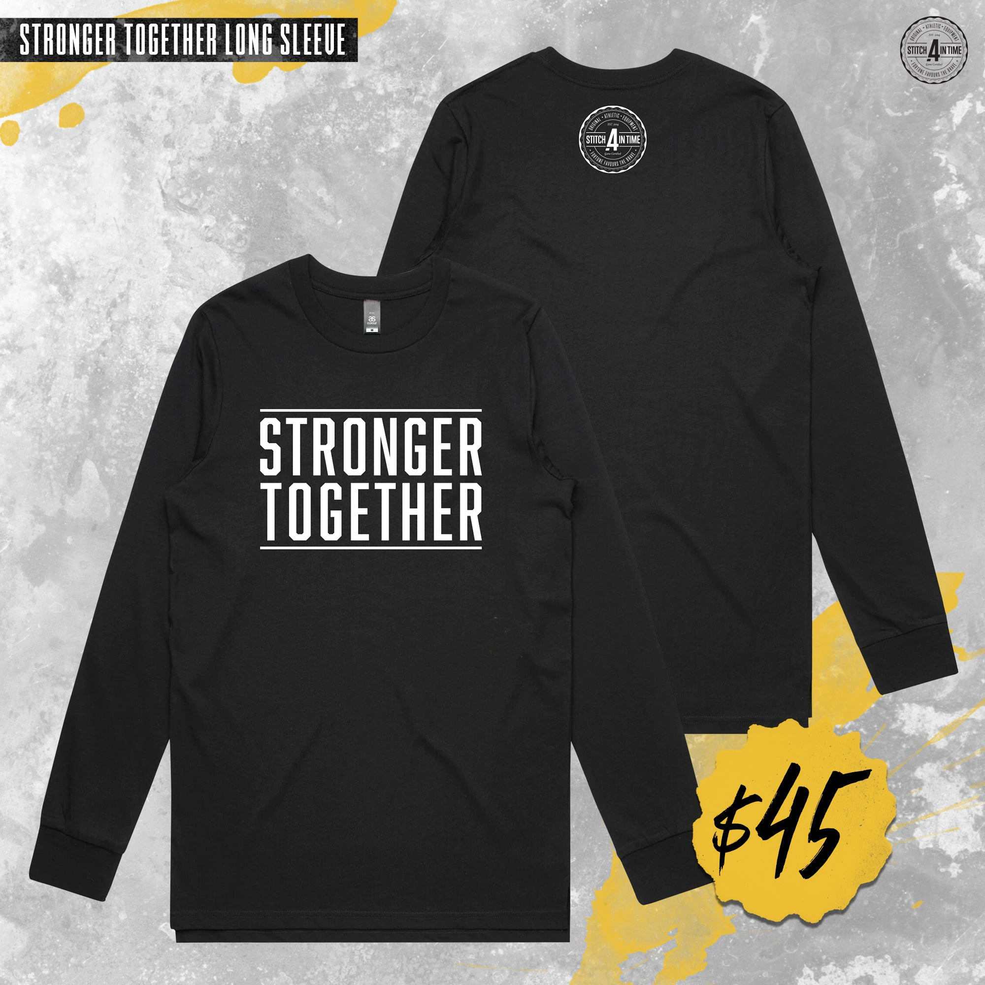 Stronger Together Long Sleeve Tee (Black)