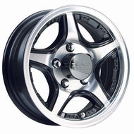 "15"" CrossTrax Trailer Wheels-Machined with Black Accents with Clear Coat"