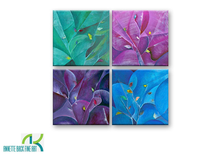 Branches by Annette Back -12x12, set of 4-Original Oil on Canvas-annettebackart