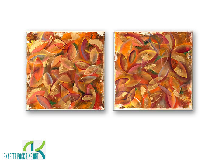 Leaves by Annette Back, 12x12/set of 2-Original Oil on Canvas-annettebackart