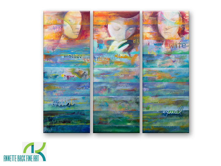 I Am Woman by Annette Back - 12x30, set of 3-Original Oil on Canvas-annettebackart