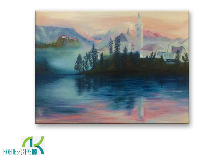 Bled Island by Annette Back - 40x30-Original Oil on Canvas-annettebackart