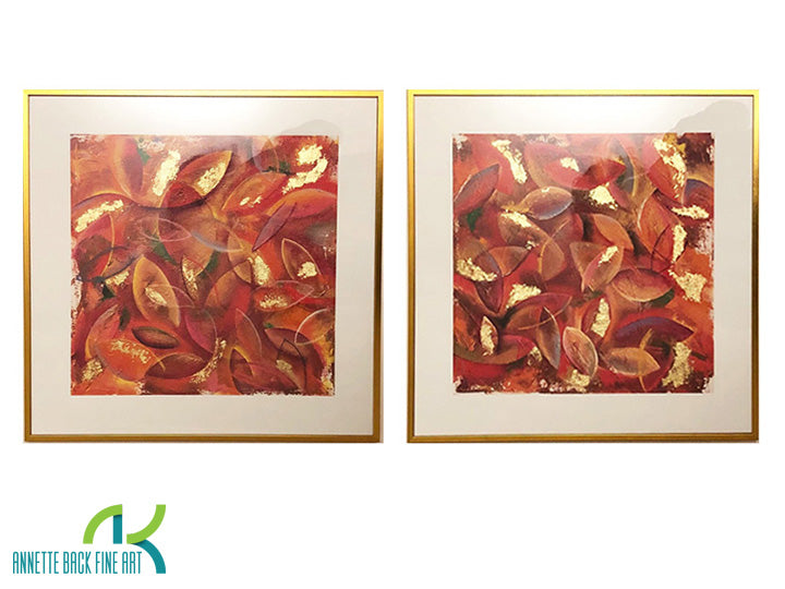 Leaves - Limited Edition/Hand embellished with Gold Leaf/Framed by Annette Back, 16x16/set of 2-Framed Print-annettebackart