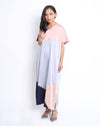 Farah Dress Grey Navy Dark Pink