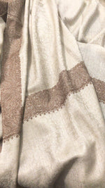 Pashtush India shawl Pashtush Mens Kashmiri Embroidery Tone on Tone Double border Shawl Medium size 48x95 inches