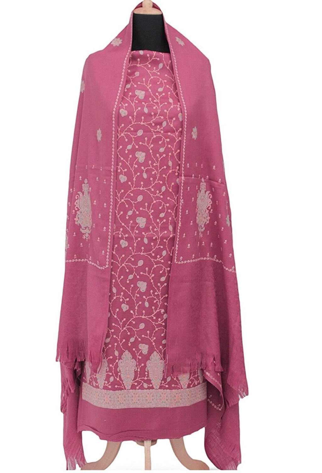 Pashtush India Suit Pashtush Women's 3 pc Kashmiri Embroidery suit in Soft Pashmina handfeel Wool