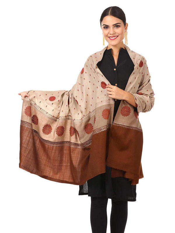 Pashtush India shawl Pashtush Womens, Kashmiri Embroidery Shawl with Palla Deisgn, Bridal Pashmina Collection