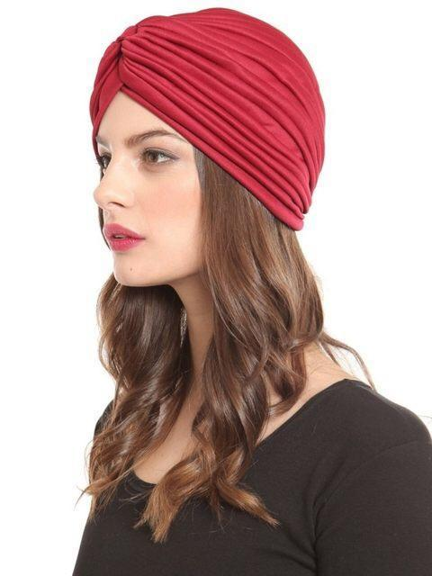 Pashtush Womens Turban Beanie Style headwear in Scarlet Red