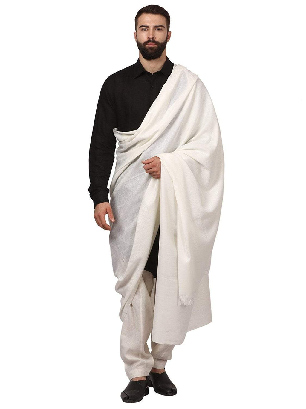 Pashtush India Cream Pashtush Woven Jacquard Design Mens Shawl, Light Weight Australian Merino Wool, Warm, Full Size