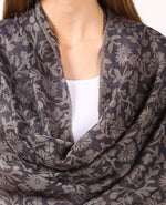 Pashtush India Scarf Women's Silk-Pashmina Reversible Floral Scarf, Soft and Warm (Navy Blue)