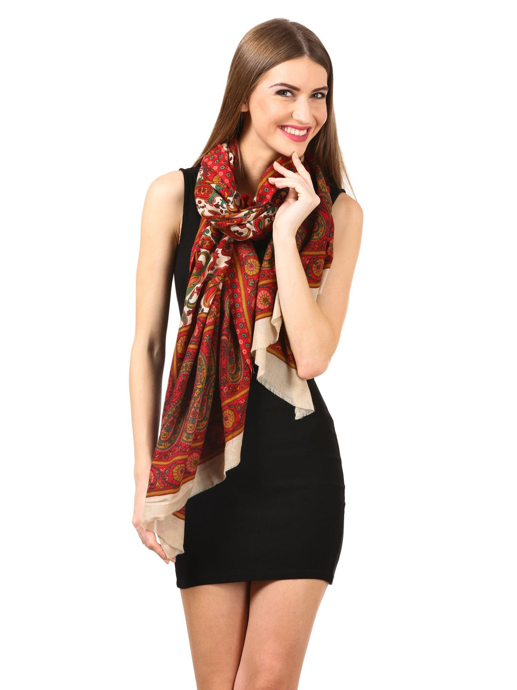 Womens Fine Wool Pashmina Blended Printed Stole Scarf