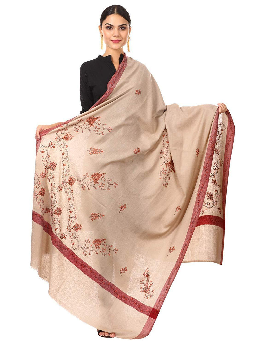 Pashtush Shawl Store shawl Pashtush Women's Wool Shawl with Kashmiri Hand Embroidery, warm and 100% hand-made (Taupe)