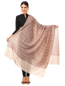 Pashtush Shawl Store Shawl Women's Fine Wool Striped Shawl, Australian Merino Wool - Light Pashmina