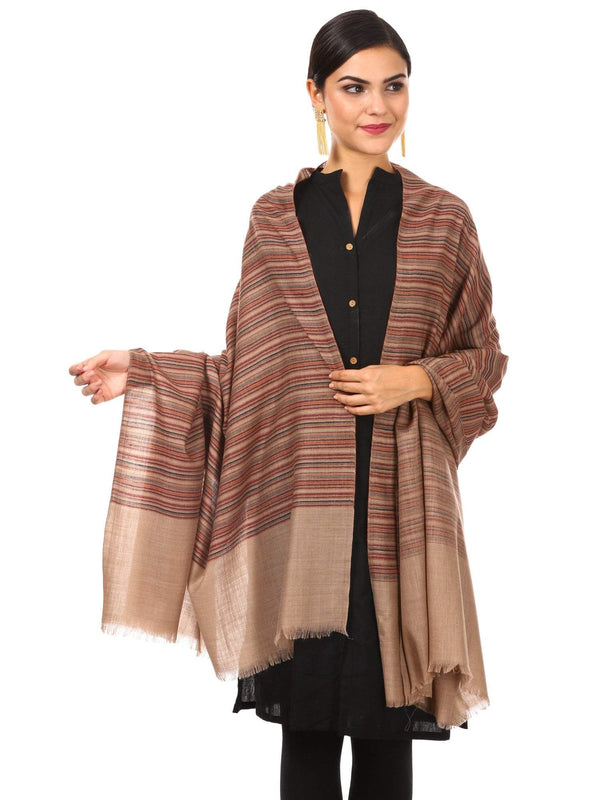 Women's Fine Wool Striped Shawl, Australian Merino Wool - Taupe