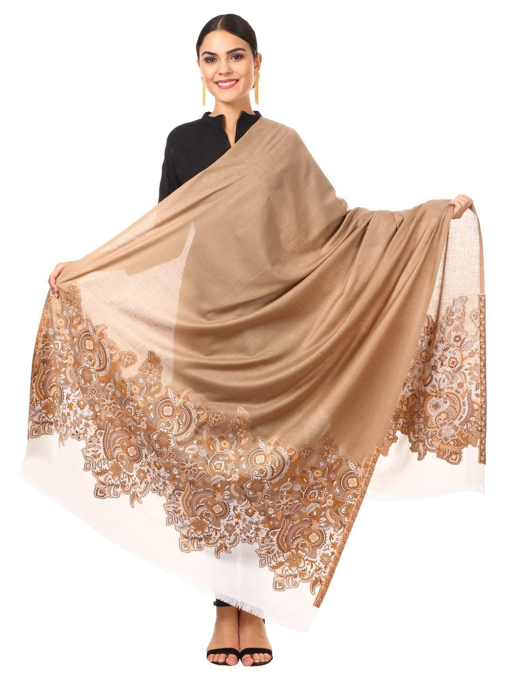 Women's Kashmiri Jacquard Palla Shawl, Warm and soft, Faux Pashmina