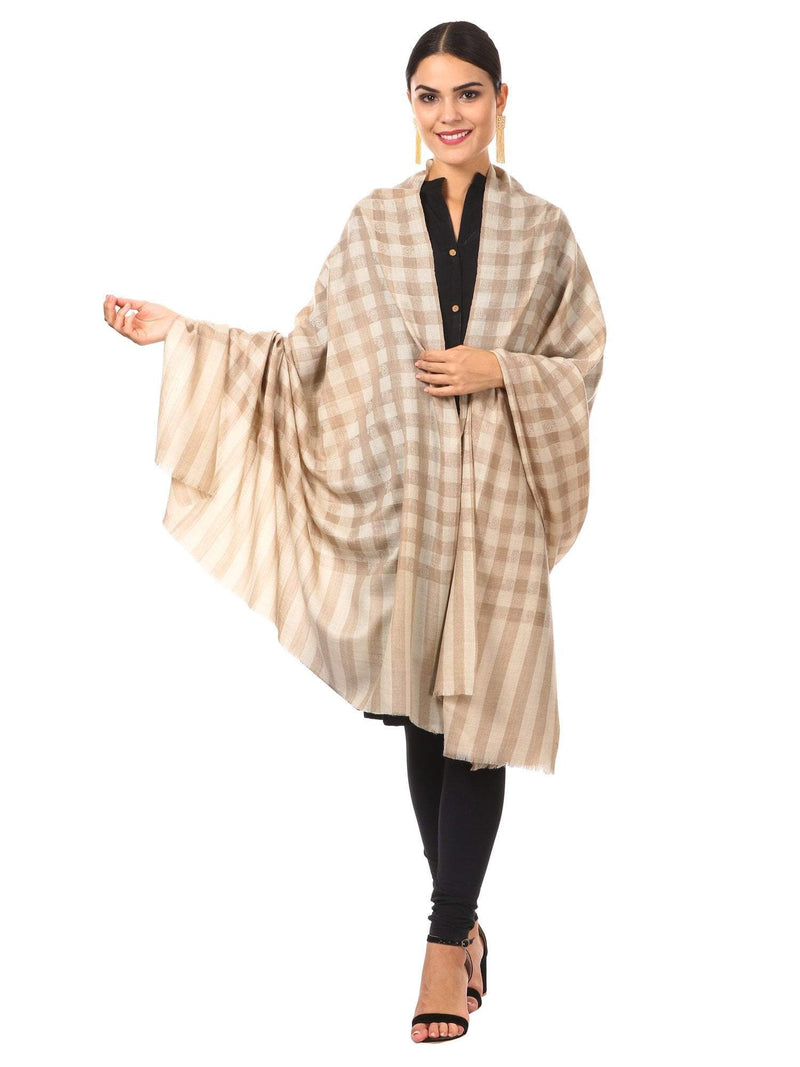 Womens Extra Fine Wool Blend Pashmina Shawl,Checkered, Soft and Warm