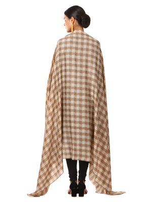 Womens Extra Fine Wool Blend Pashmina Shawl, Checkered, Soft and Warm (taupe)