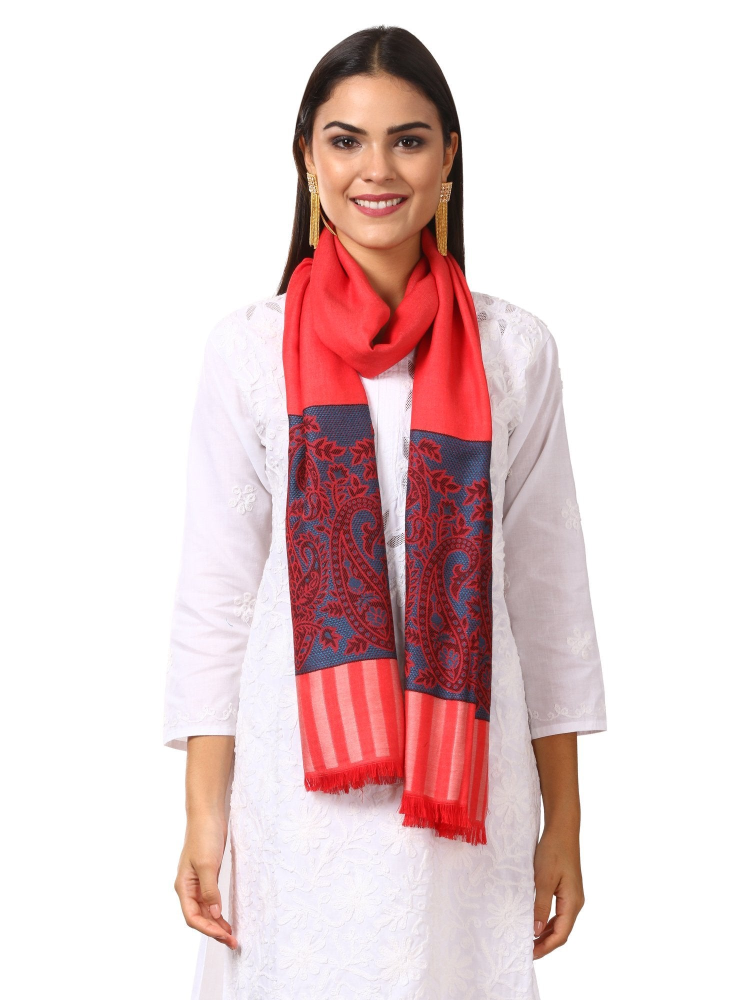 Womens Fine Bamboo Jacquard Scarf, Reversible, Multicoloured