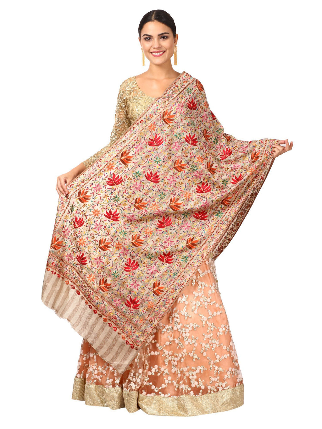 Womens Hand Embroidery Nalki Stole, Multicoloured