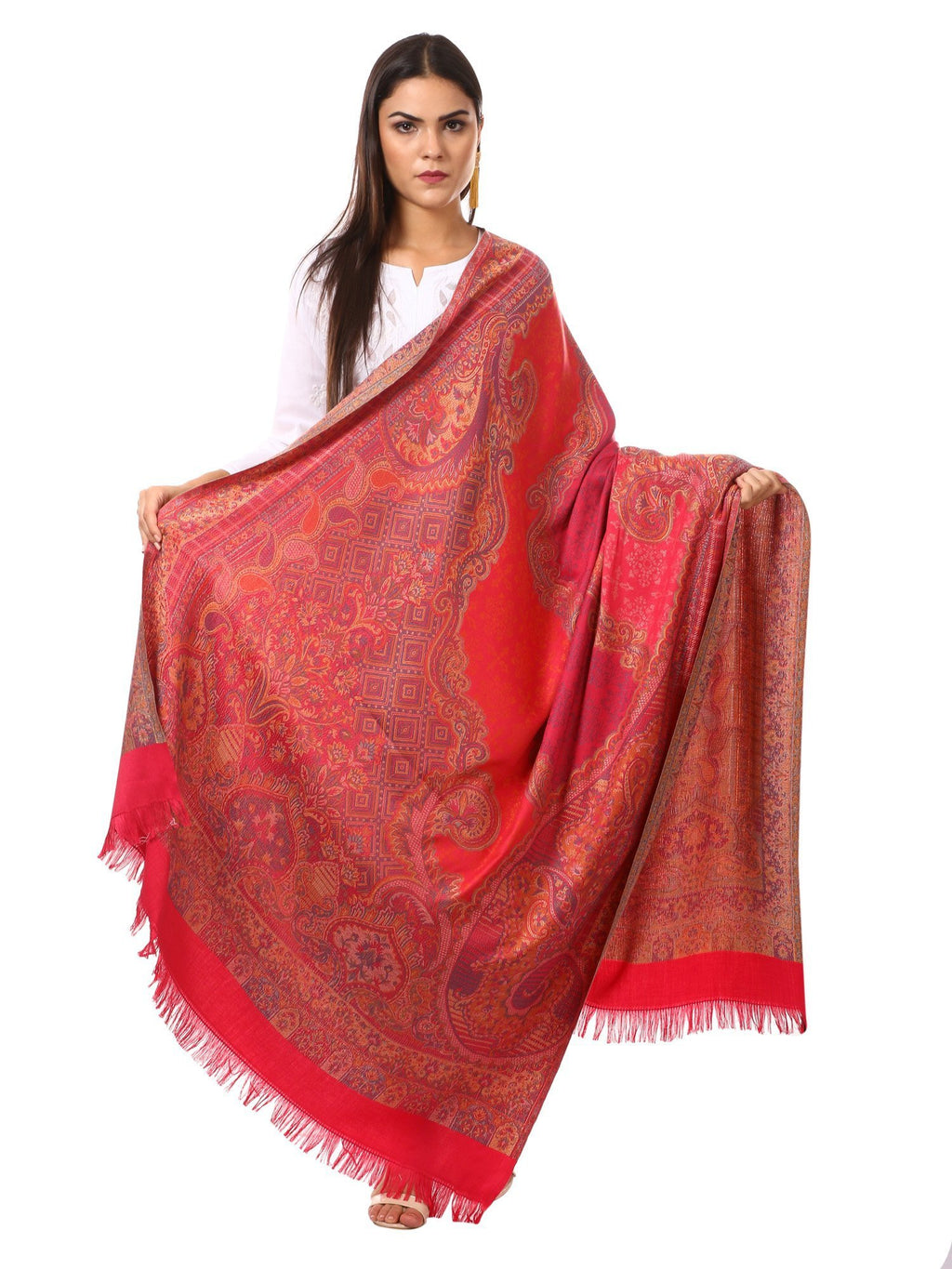 Womens Jamawar Shawl, Soft Faux Pashmina - Scarlet Colour