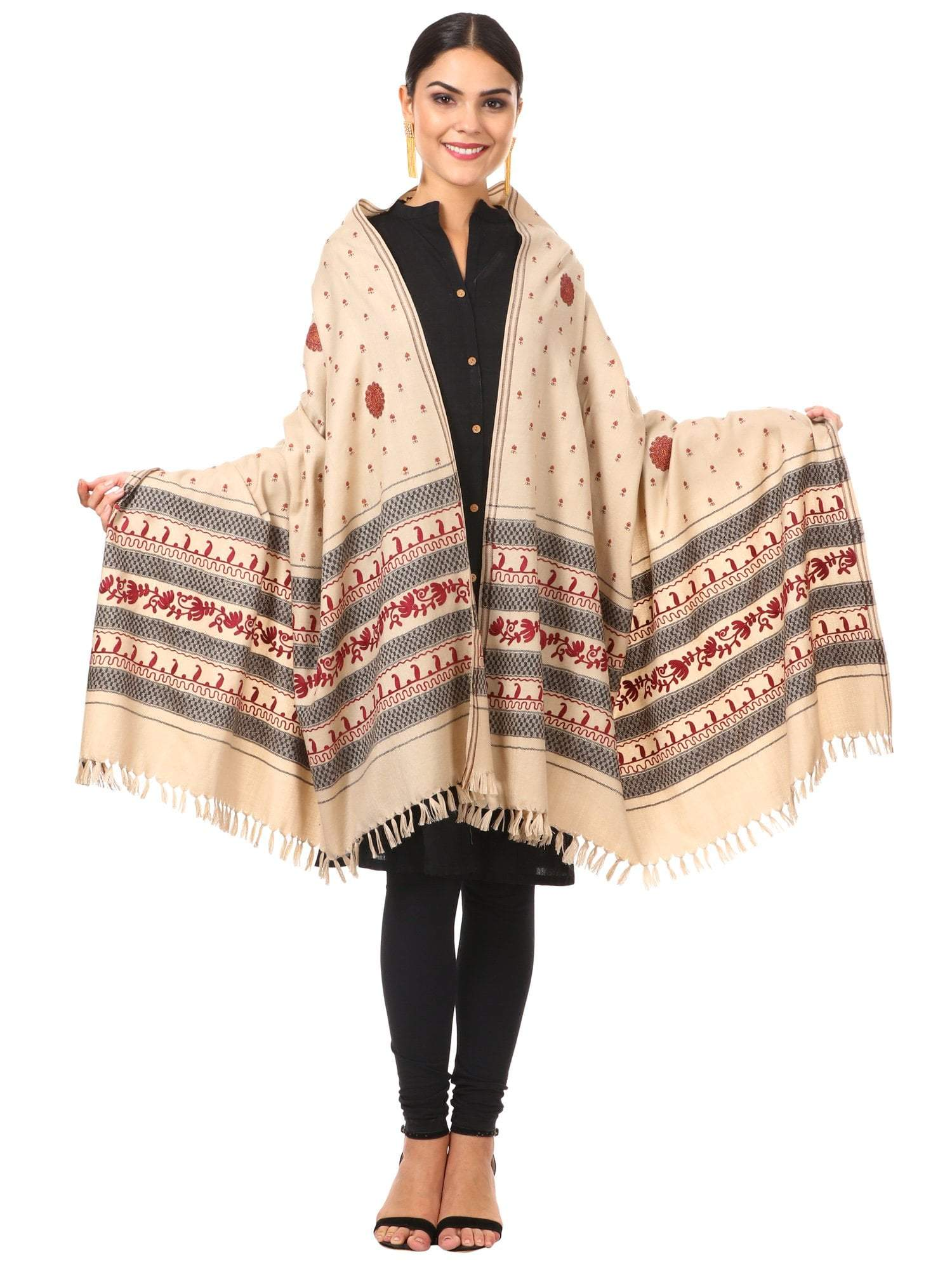 Womens Wool Shawl - Thick Fabric, Kashmiri Embroidery Design
