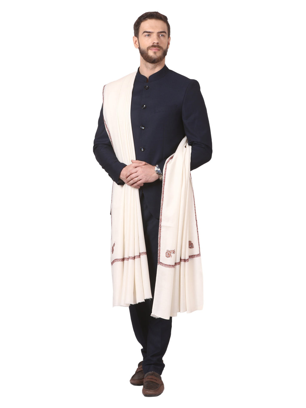 Pashtush Store Pashtush Mens Kingri Shawl, Hand Embroidery Shawl, Full Size (white)