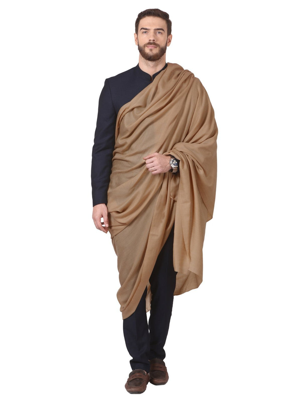 Pashtush Store Shawl Pashtush Mens Super Fine Ring Shawl, full size 54x108 inches - Taupe