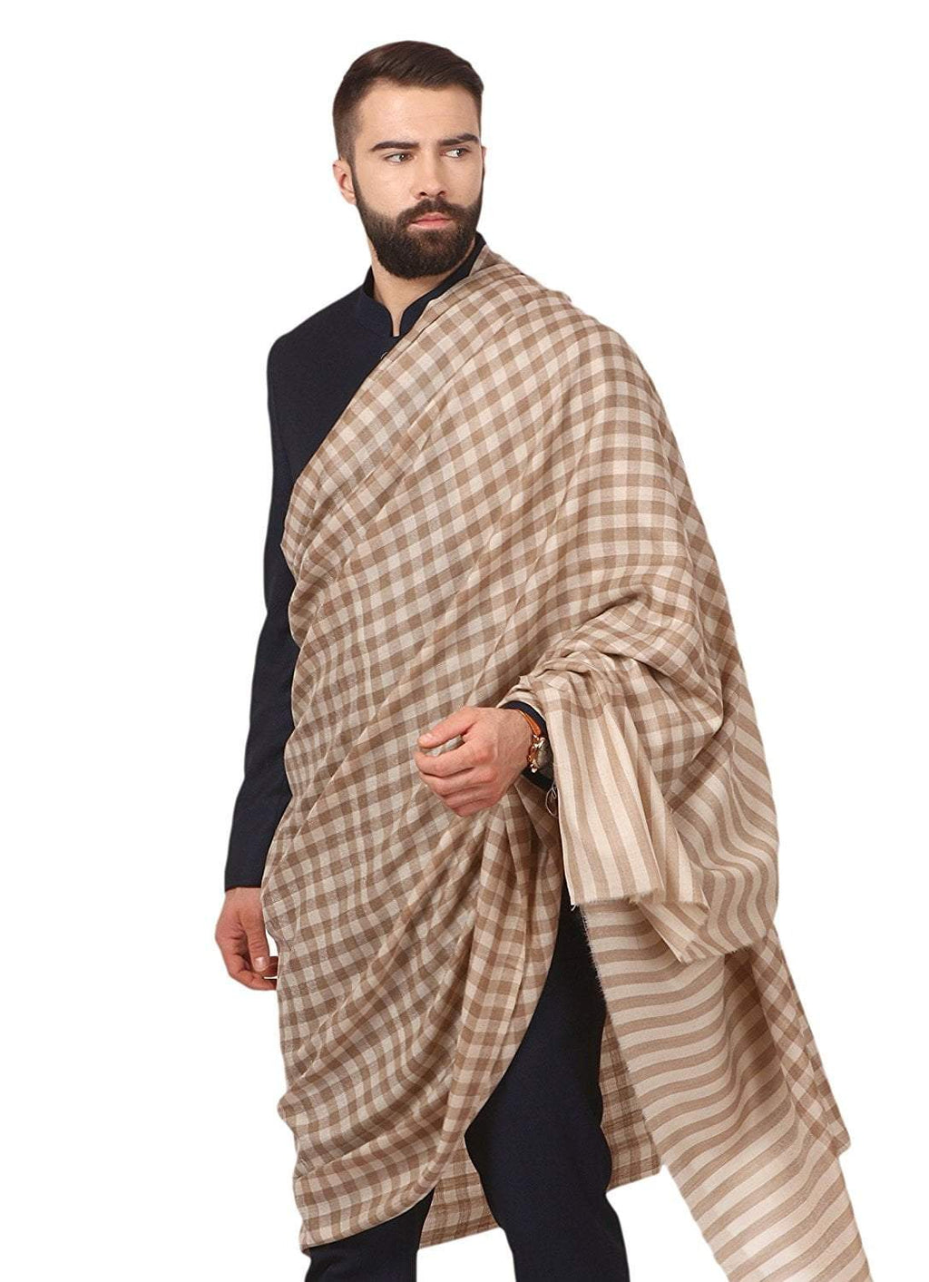 Pashtush Store Pashtush Mens Woven Check Design Shawl, Australian Merino Wool Light Weight, Soft Handfeel