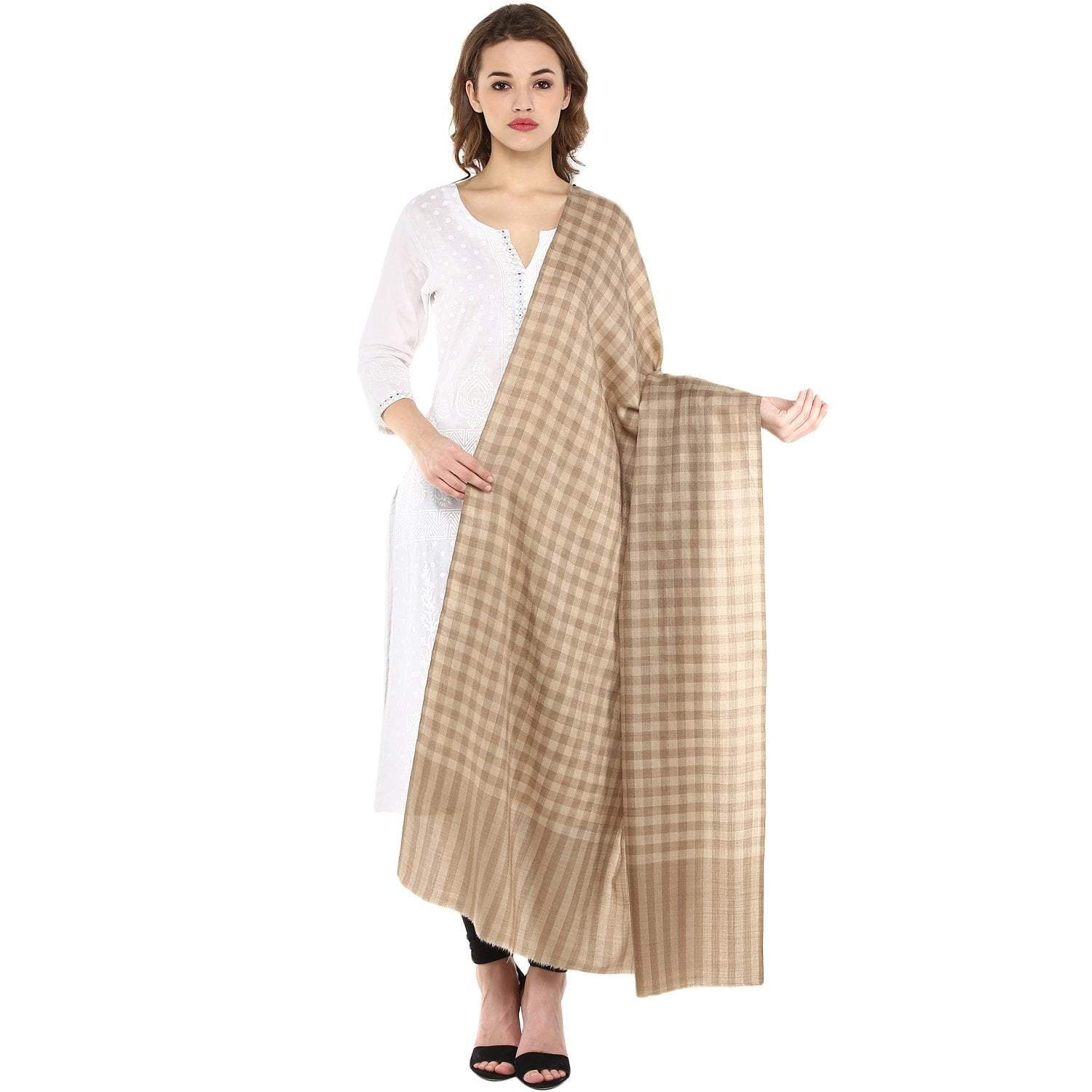Pashtush Store Pashtush Ultra Soft Womens Wool Shawl Check Design, Natural Faux Pashmina Shawl (Large)