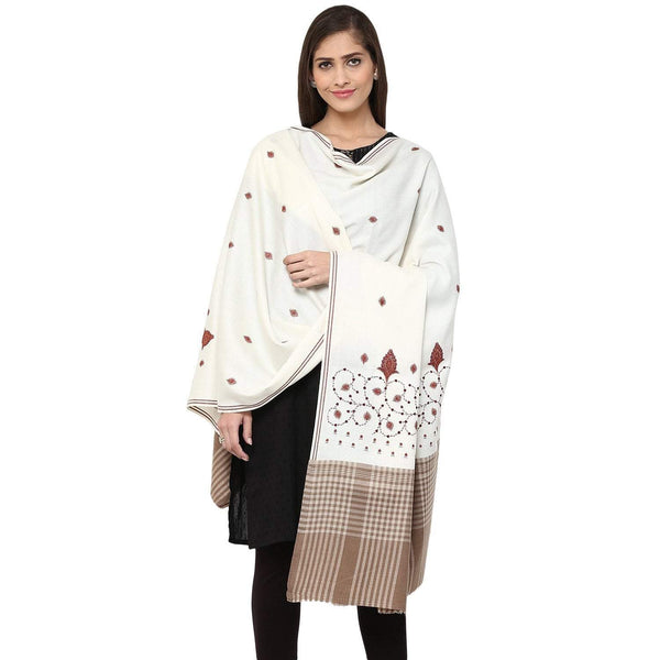 Pashtush Store Pashtush Women's embroidered Wool Shawl white with check palla