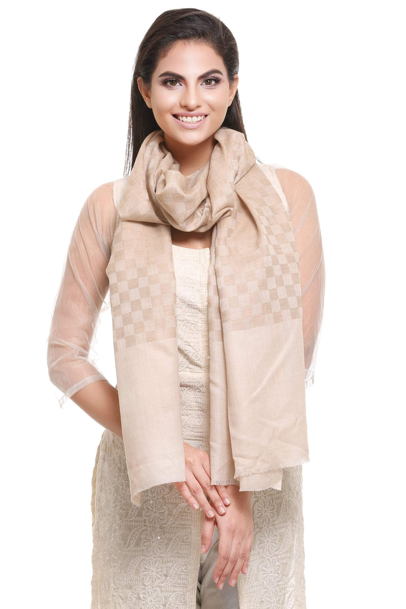 Pashtush Store Pashtush Women's Reversible Stole, checkered design (beige)