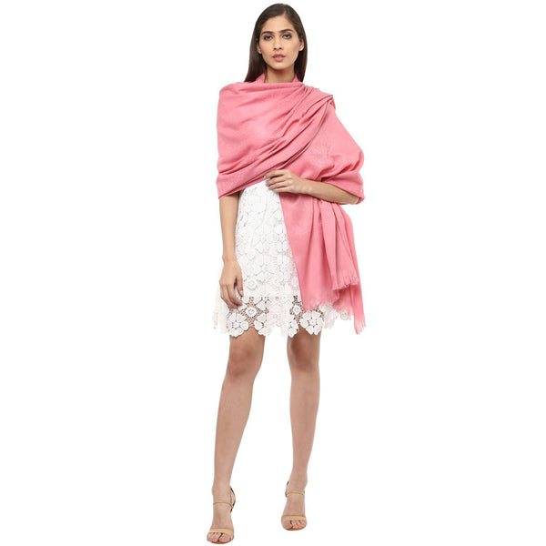Pashtush Store Pashtush Women's Soft Wool Shawl Baby peach with Jacquard Design